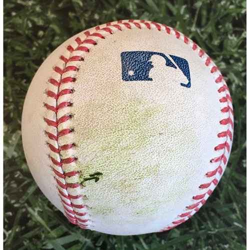 Photo of Game-Used Baseball STL@MIL 09/16/20 (Game 1 of Doubleheader) - Adam Wainwright - Daniel Vogelbach: Strikeout