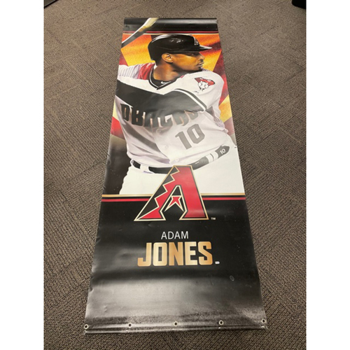 Photo of Adam Jones 2019 Team-Issued Double-Sided Street Banner - Approximately 93 inches tall by 31 inches wide