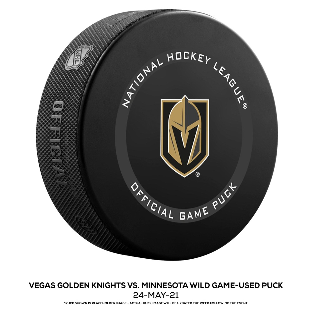Vegas Golden Knights vs. Minnesota Wild Game-Used Puck from Game 5 of the First Round of the 2021 Stanley Cup Playoffs on May 24, 2021