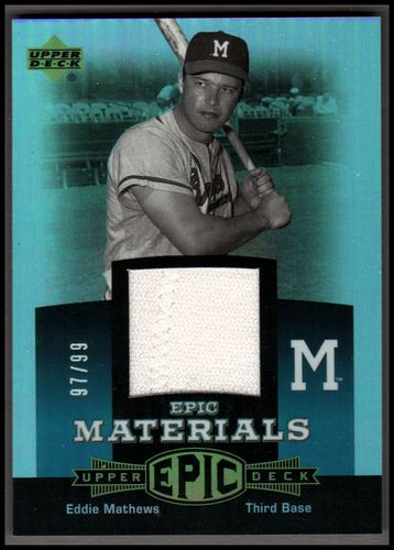 Photo of 2006 Upper Deck Epic Materials Teal #ED Eddie Mathews Jsy/99