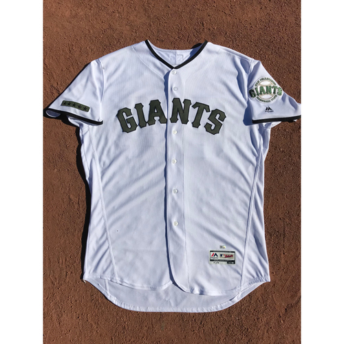 Photo of San Francisco Giants - 2017 Game-Used Jersey - #64 Derek Law - Memorial Day (Green/White) Worn 5/27 & 5/28 - Jersey Size 48