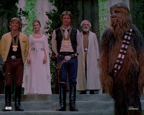 Han Solo, Luke Skywalker, Princess Leia Organa and Chewbacca