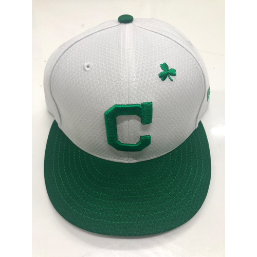 Photo of Shane Bieber 2019 Game Used St. Patrick's Day Cap