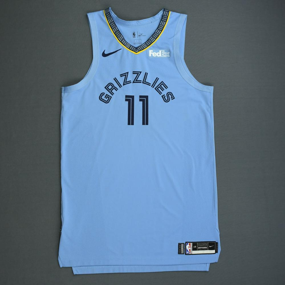 Mike Conley - Memphis Grizzlies - 2018-19 Season - Game-Worn Blue Statement Edition Jersey - Double-Double
