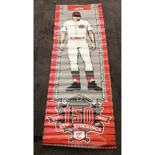Photo of Reds 1939 Throwback Uniform Banner From Downtown Cincinnati & Great American Ball Park