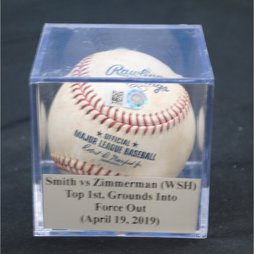Photo of Game-Used Baseball: Caleb Smith vs Ryan Zimmerman (WSH), Top 1st, Grounds Into Force Out (April 19, 2019)