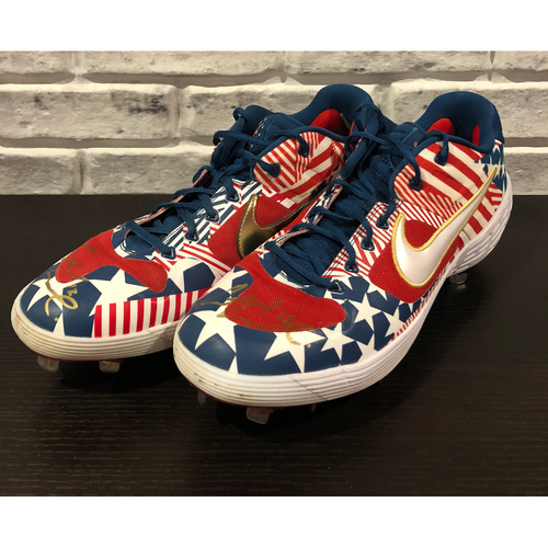 Photo of Curt Casali -- *Autographed July 4th Custom Pair of Cleats -- Size: 13