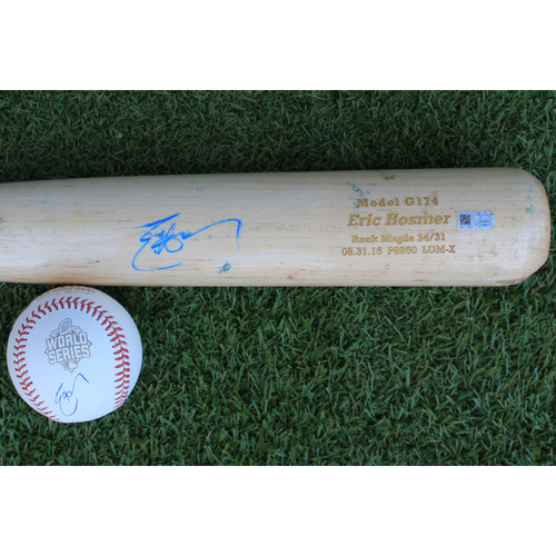 Photo of Autographed Baseball and Game-Used Broken Bat: Eric Hosmer (CLE @ KC - 9/26/15)