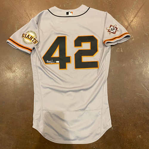 Photo of 2020 Jackie Robinson Day Jersey - Team Issued & Autographed - #92 Alyssa Nakken (Coach) - Size 40