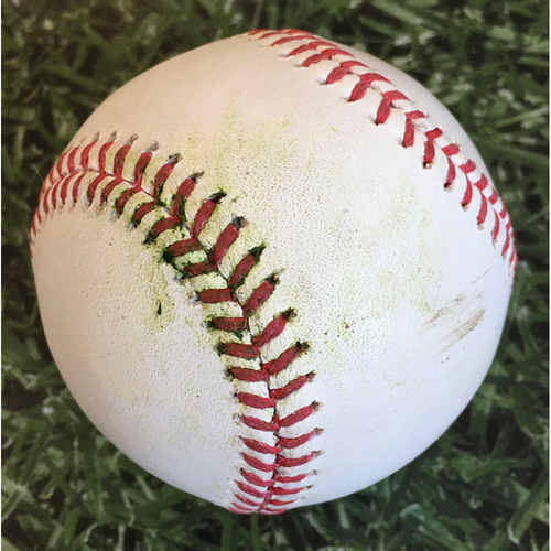 Photo of Game-Used Baseball KC@MIL 09/18/20 - Adrian Houser - Salvador Perez: 2-Run Double