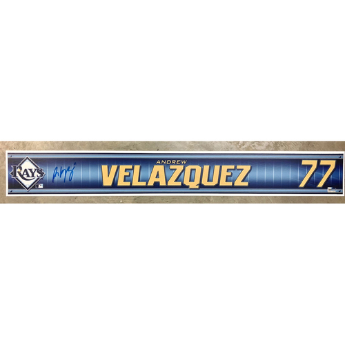Photo of Rays Baseball Foundation: Team Issued Autographed Locker Tag - Andrew Velazquez