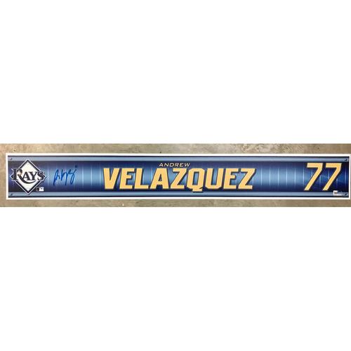 Photo of Rays Baseball Foundation: Team Issued Autographed Locker Tag - Andrew Velazquez