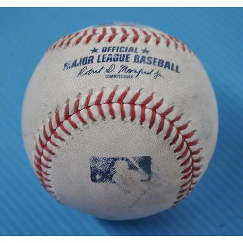 Photo of Game-Used Baseball - 2020 ALDS - New York Yankees vs. Tampa Bay Rays - Game 5 - Pitcher: Aroldis Chapman, Batter: Michael Brosseau (Foul) - Bot 8