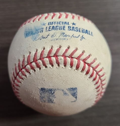 Photo of Authenticated Game Used Baseball: Foul by Lourdes Gurriel Jr. against Gerrit Cole (Sep 22, 2020 vs NYY). Bottom 5. Game played in Buffalo.
