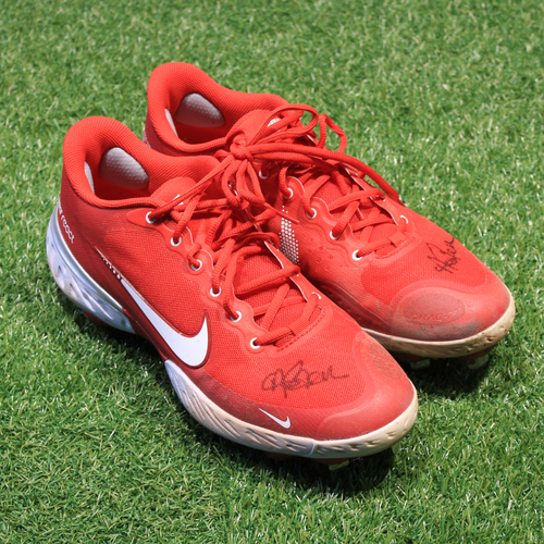 Photo of Game-Used & Autographed 2021 Monarchs Cleats: Andrew Benintendi #16 (DET @ KC 5/23/21) - Size 10