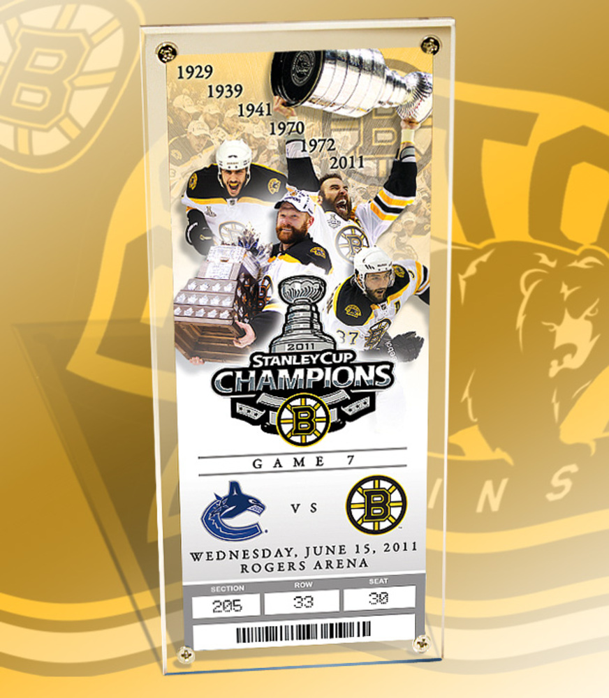 BOSTON BRUINS 2011 NHL STANLEY CUP CHAMPS- Commemorative Ticket & Display Case