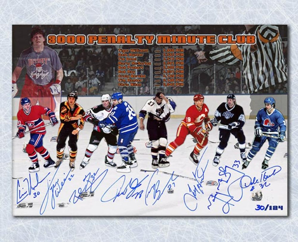 NHL Hockey 3000 Penalty Minute Club Autographed 7X10 Print #/124 - 8 Signatures