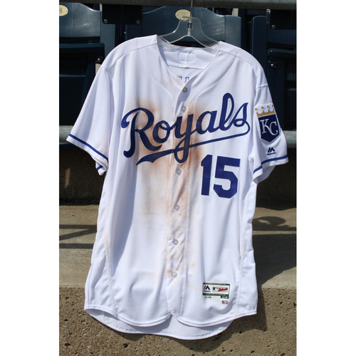 Photo of Game-Used Jersey: Whit Merrifield 198th Career Hit (Size 44 - STL at KC - 8/8/2017)
