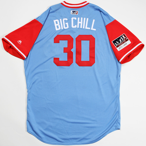 "Photo of Nomar ""Big Chill"" Mazara Texas Rangers Game-Used 2018 Players' Weekend Jersey"