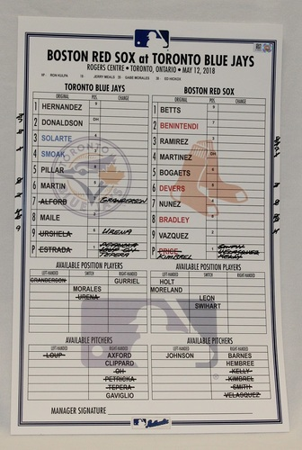 Photo of Authenticated Game Used Lineup Card - May 12, 2018 vs Boston Red Sox: David Price got the Win for the Red Sox against his Former Team