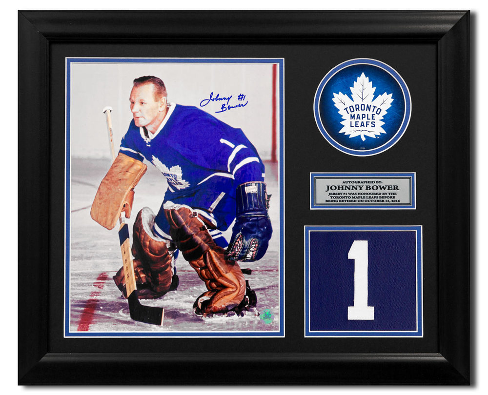 Johnny Bower Toronto Maple Leafs Signed Retired Jersey Number 23x19 Frame