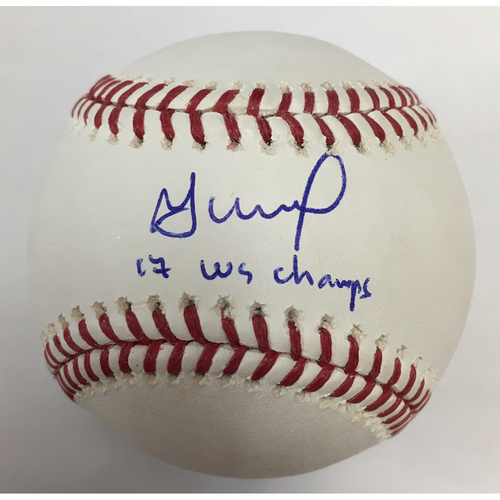 "Photo of Jose Altuve Autographed ""17 WSC"" Baseball"