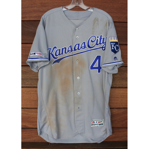Photo of Game-Used Jersey: Alex Gordon 1,602nd & 1,603rd Career Hits, 353rd Career Double & 735th Career RBI (Size 46 - KC @ MIN - 9/19/19 & 9/20/19)