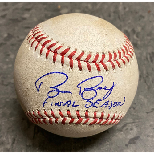 "Photo of 2019 Game Used & Autographed Inscribed Baseball - Game Used on 9/15 vs. Miami Marlins - Autographed & Inscribed ""Bruce Bochy Final Season"""