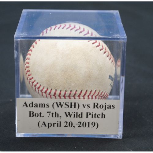 Photo of Game-Used Baseball: Austin Adams (WSH) vs Miguel Rojas, Bot. 7th, Wild Pitch (April 20, 2019)
