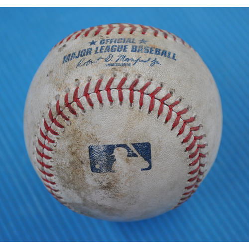 Photo of Game-Used Baseball - 2020 NLCS - Atlanta Braves vs. Los Angeles Dodgers - Game 1 - Pitcher: Walker Buehler, Batters: Ronald Acuna Jr. (Swinging Strikeout), Freddie Freeman (2-1 Count) - Top 3