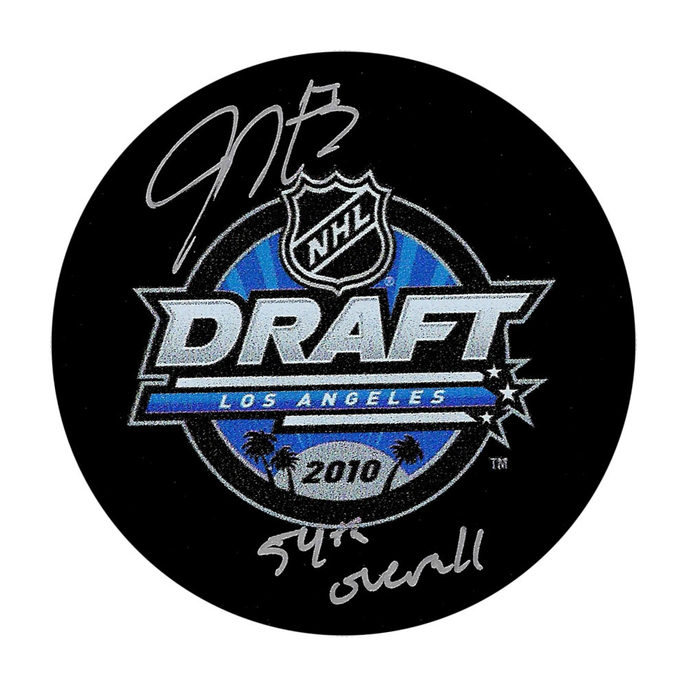 Justin Holl Autographed 2010 NHL Entry Draft Puck w/54TH OVERALL Inscription