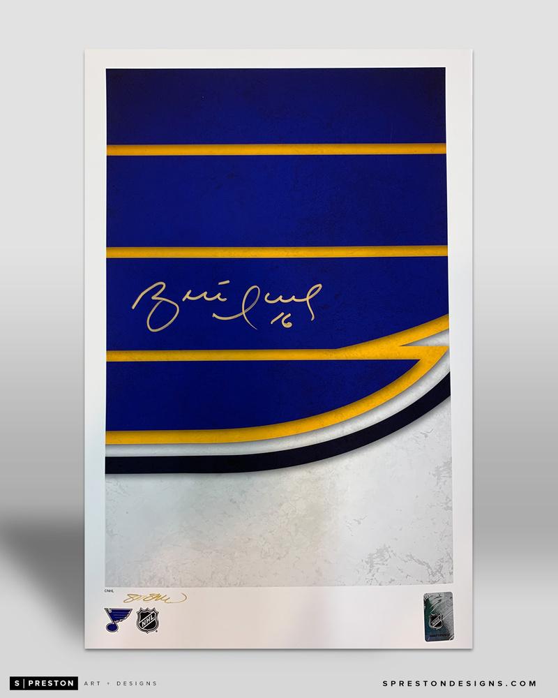 Brett Hull - Minimalist St. Louis Blues Logo Art by S. Preston 11x17 Art Print Autographed