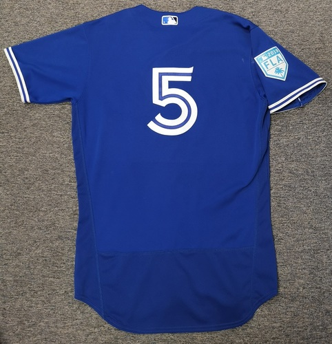 Photo of Authenticated Game Used 2019 Spring Training Jersey - #5 Eric Sogard (Mar 18: 0-for-3. Mar 25: 1-for-2). Size 44