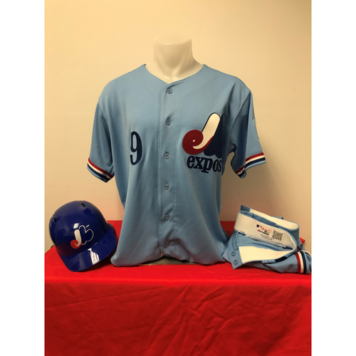 Photo of Brian Dozier Expos Gear: Game-Used Jersey, Game-Used Pants, and Team-Issued Batting Helmet