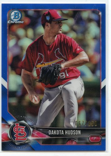 Photo of 2018 Bowman Chrome Prospects Blue Refractors #BCP176 Dakota Hudson 067/150