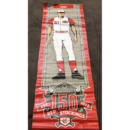Photo of Reds 1961 Throwback Uniform Banner From Downtown Cincinnati & Great American Ball Park