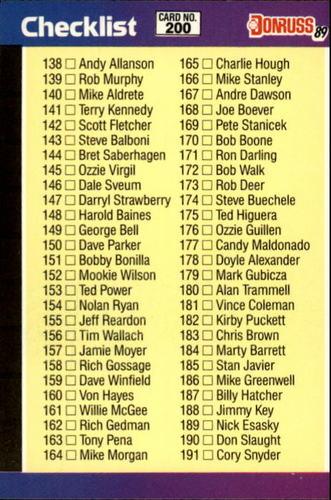 Photo of 1989 Donruss #200 Checklist 138-247