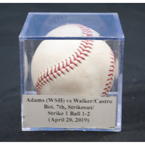 Photo of Game-Used Baseball: Austin Adams (WSH) vs Neil Walker/Starlin Castro, Bot. 7th, Strikeout/Strike 1 Ball 1-2 (April 20, 2019)
