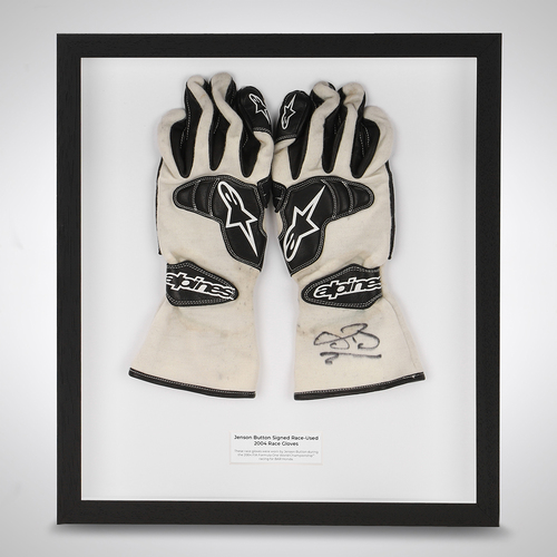 Photo of Jenson Button BAR Honda 2004 Signed Race Used Gloves