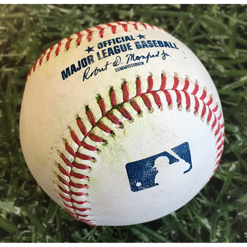 Photo of Game-Used Baseball KC@MIL 09/19/20 - Scott Barlow - Jacob Nottingham: RBI Double