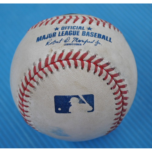Photo of Game-Used Baseball - 2020 NLCS - Atlanta Braves vs. Los Angeles Dodgers - Game 1 - Pitcher: Will Smith, Batter: Mookie Betts (Flyout to RF) - Bot 8