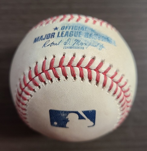 Photo of Authenticated Game Used Baseball: Foul by Gio Urshela against Chase Anderson (Sep 22, 2020 vs NYY). Top 8. Game played in Buffalo.