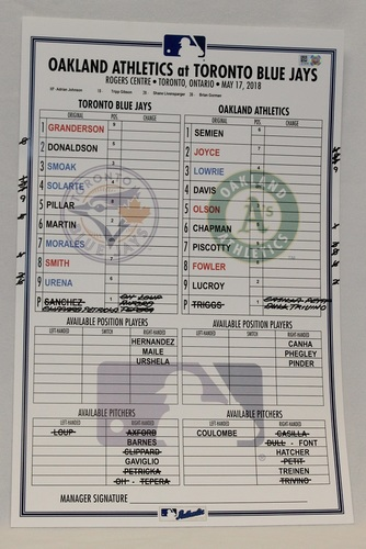 Photo of Authenticated Game Used Lineup Card - May 17, 2018 vs Oakland Athletics: Khris Davis was 4-for-4 with 1 Home Run and 2 RBIs.