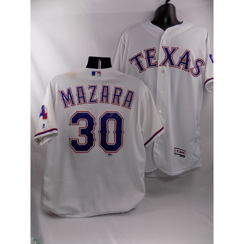 Photo of White Autographed Game-Used Jersey - Nomar Mazara