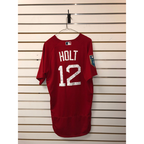 Photo of Brock Holt Team-Issued 2018 Spring Training jersey