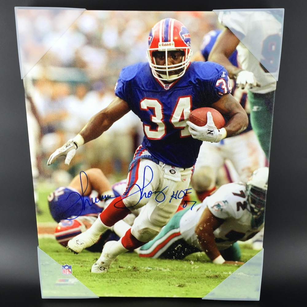 HOF - Bills Thurman Thomas Signed 14x20 Canvas Print
