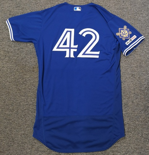 Photo of Charity Auction - Authenticated Game Used #42 Jersey - Clay Buchholz (April 15, 19). Size 44