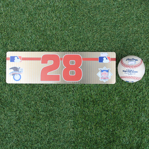 Photo of Game-Used Baseball and Locker Tag: J.D. Martinez 16th Career Triple and 639th Career RBI (BOS @ KC - 6/4/19)