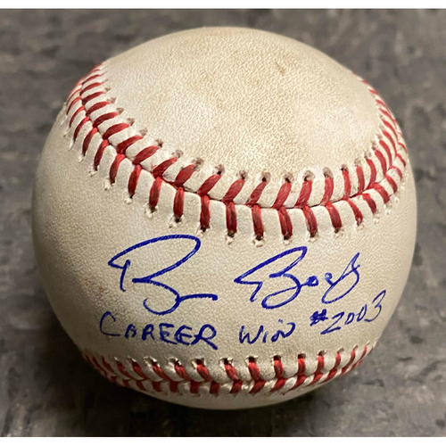 "Photo of 2019 Game Used & Autographed Inscribed Baseball - Bruce Bochy's 2,003 Career Win - Game Used on 9/26 vs. Colorado Rockies - Autographed & Inscribed ""Bruce Bochy Career Win #2003 - T-6: Coonrod to Hillard - Ball 1"