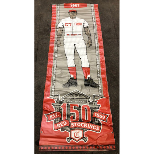Photo of Reds 1967 Throwback Uniform Banner From Downtown Cincinnati & Great American Ball Park